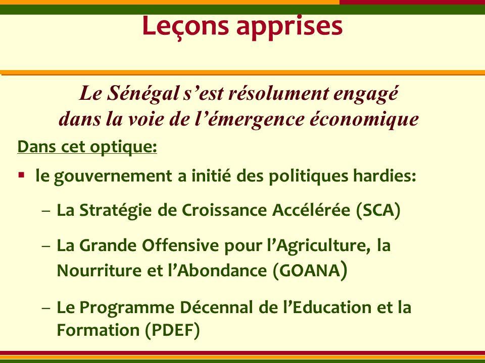 Leçons apprises Dans cet optique: le gouvernement a initié des politiques hardies: –La Stratégie de Croissance Accélérée (SCA) –La Grande Offensive po