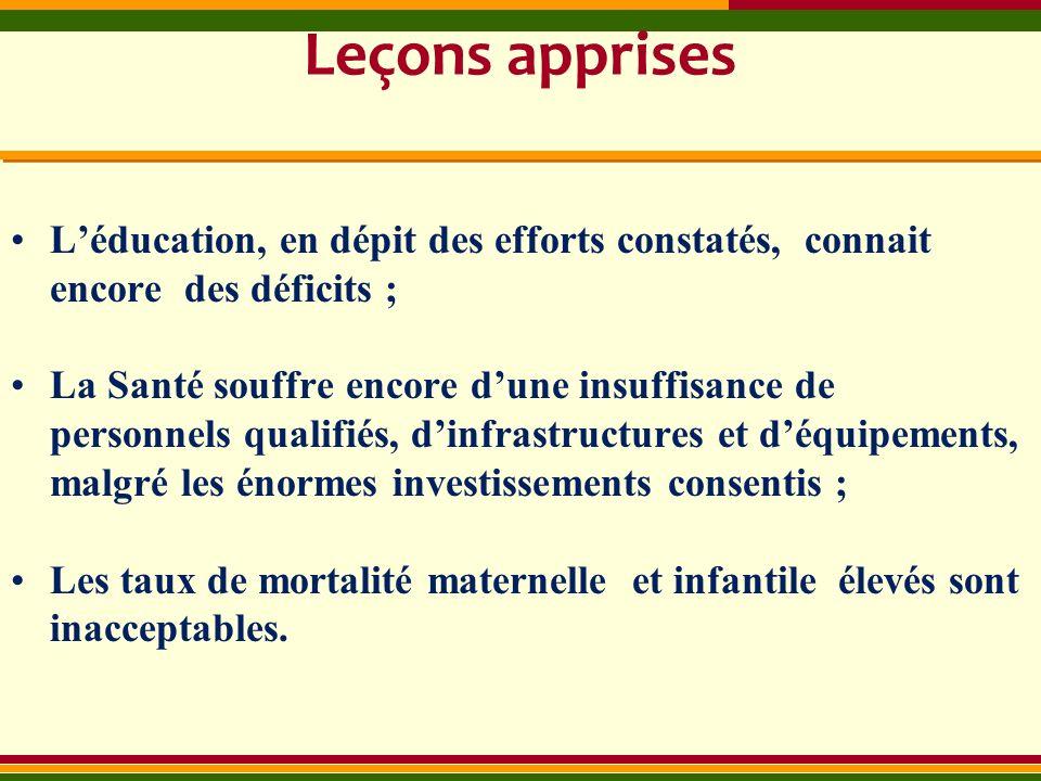 Leçons apprises Léducation, en dépit des efforts constatés, connait encore des déficits ; La Santé souffre encore dune insuffisance de personnels qual