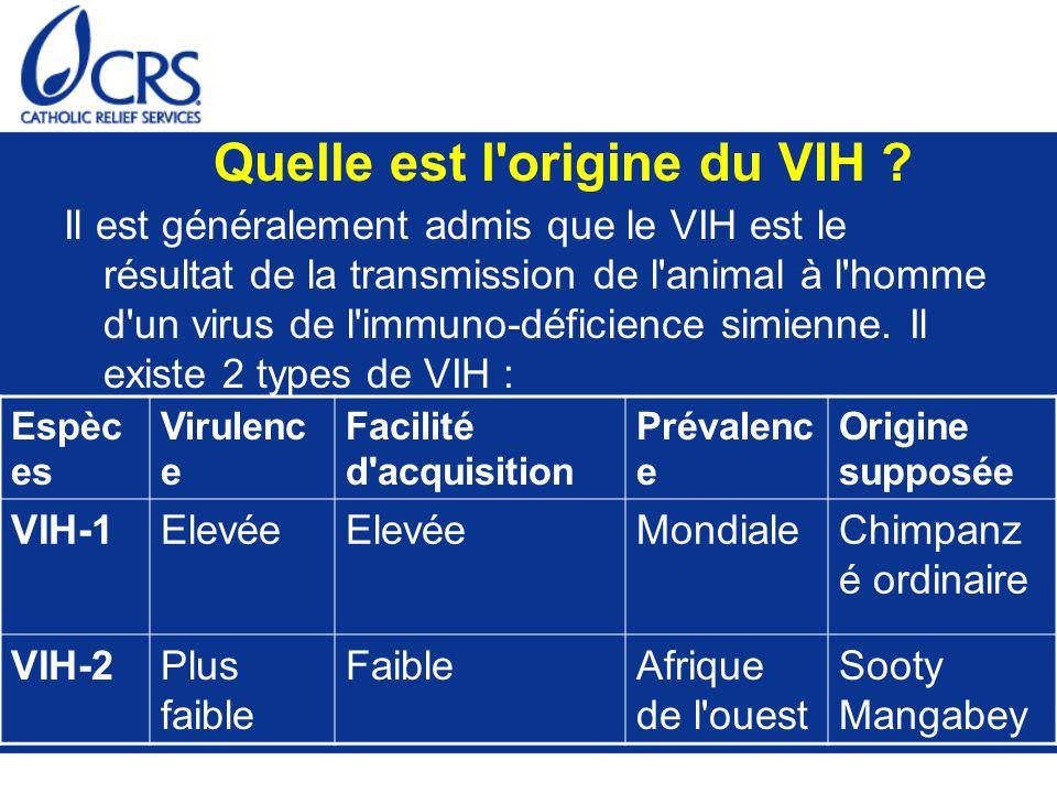 Il est généralement admis que le VIH est le résultat de la transmission de l'animal à l'homme d'un virus de l'immuno-déficience simienne. Il existe 2