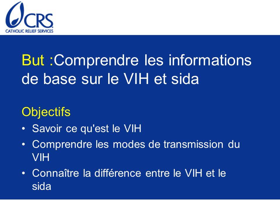 But :Comprendre les informations de base sur le VIH et sida Objectifs Savoir ce qu'est le VIH Comprendre les modes de transmission du VIH Connaître la