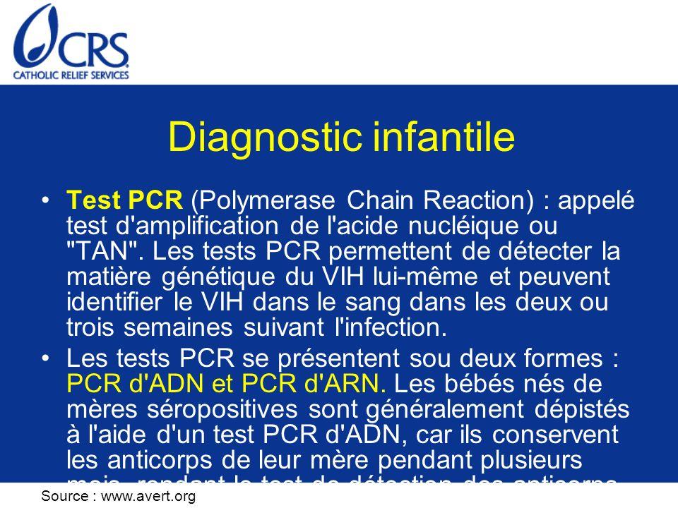 Diagnostic infantile Test PCR (Polymerase Chain Reaction) : appelé test d'amplification de l'acide nucléique ou
