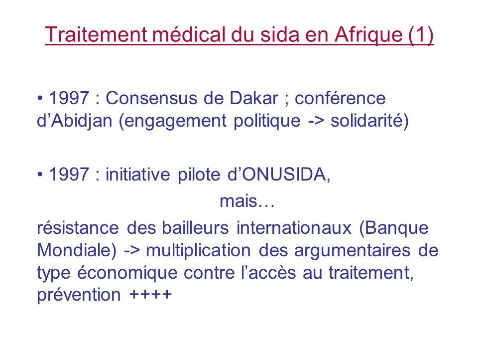 Traitement médical du sida en Afrique (1) 1997 : Consensus de Dakar ; conférence dAbidjan (engagement politique -> solidarité) 1997 : initiative pilot
