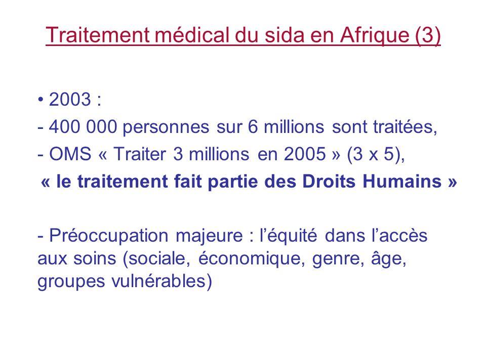Léquité dans laccès aux traitements du sida (1) Au Sénégal : 1998 - subvention gouvernementale, + contribution des patients proportionnelle à leur ressource (différents barèmes de payement) - simplification successive, en 2001, 2002, puis - gratuité des ARV à partir de décembre 2003