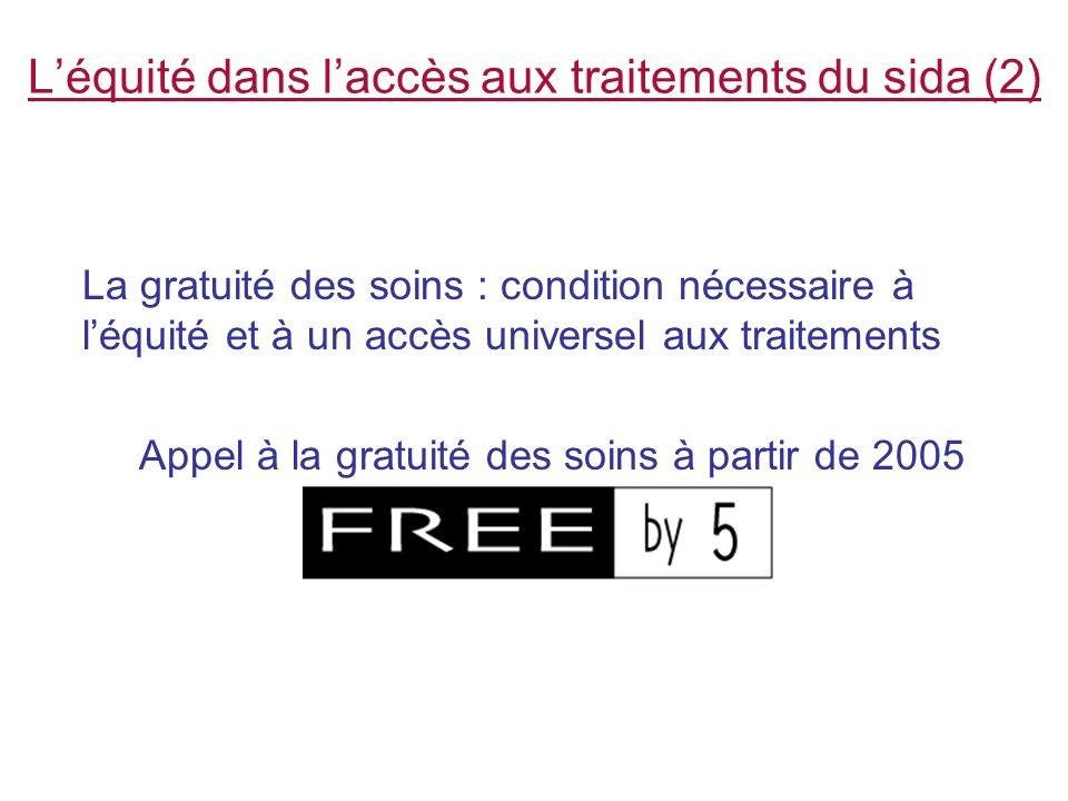 Léquité dans laccès aux traitements du sida (2) La gratuité des soins : condition nécessaire à léquité et à un accès universel aux traitements Appel à