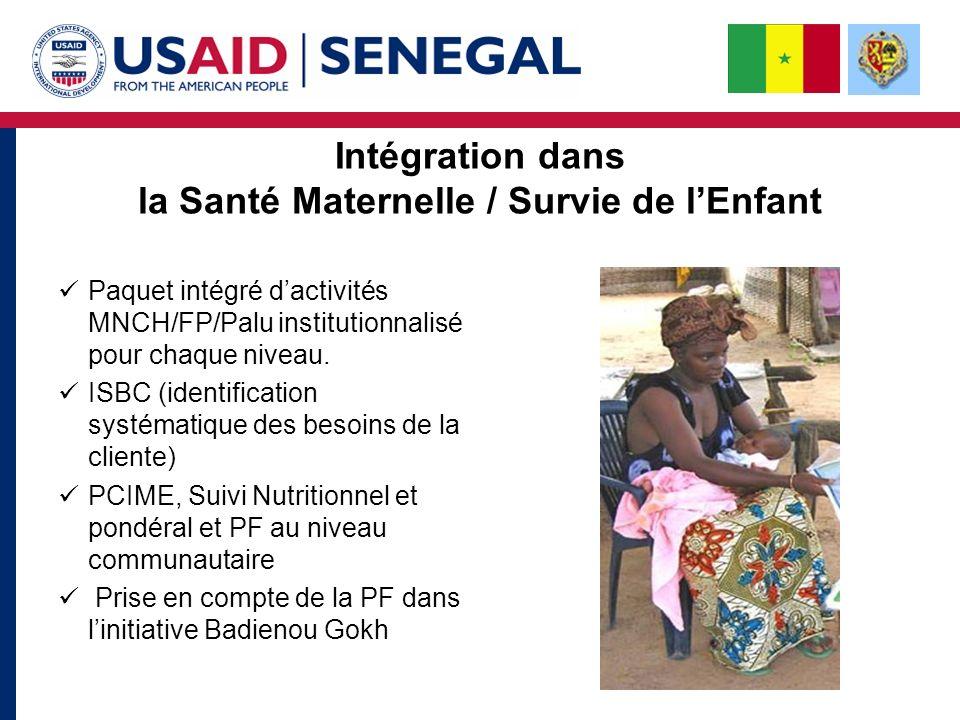 Intégration dans la Santé Maternelle / Survie de lEnfant Paquet intégré dactivités MNCH/FP/Palu institutionnalisé pour chaque niveau.