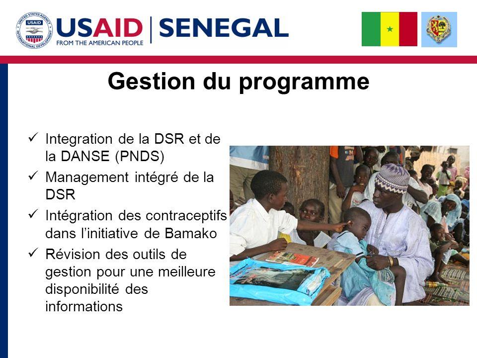 Gestion du programme Integration de la DSR et de la DANSE (PNDS) Management intégré de la DSR Intégration des contraceptifs dans linitiative de Bamako Révision des outils de gestion pour une meilleure disponibilité des informations
