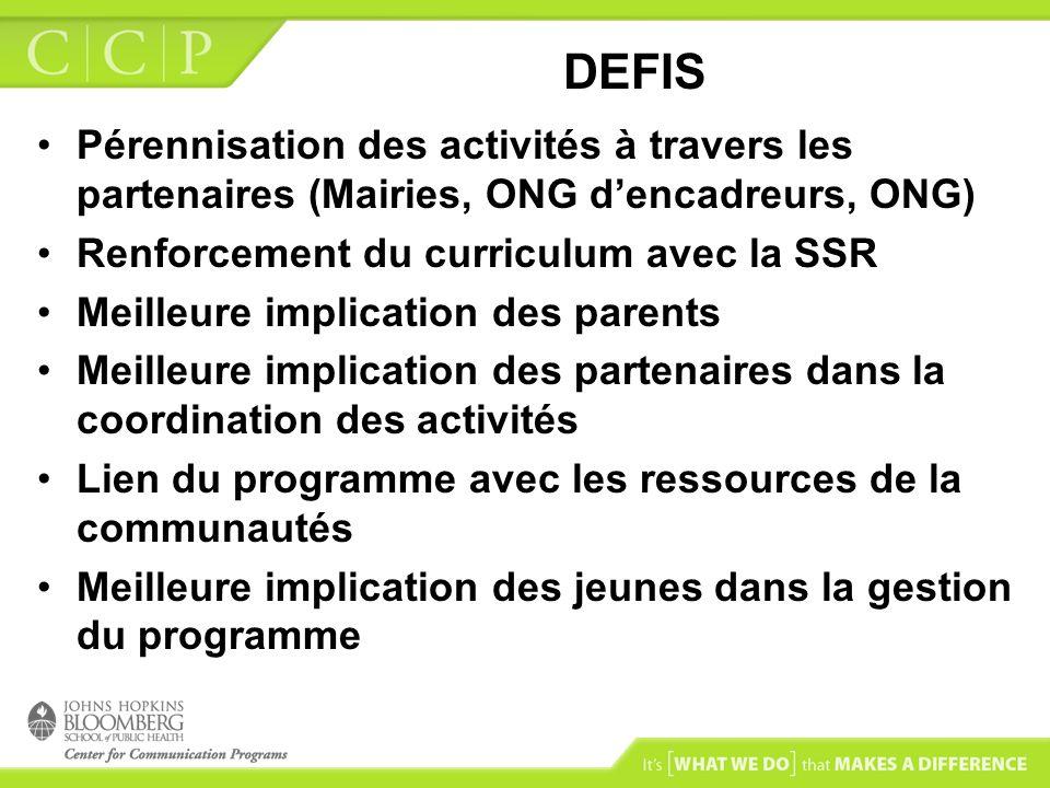 DEFIS Pérennisation des activités à travers les partenaires (Mairies, ONG dencadreurs, ONG) Renforcement du curriculum avec la SSR Meilleure implicati