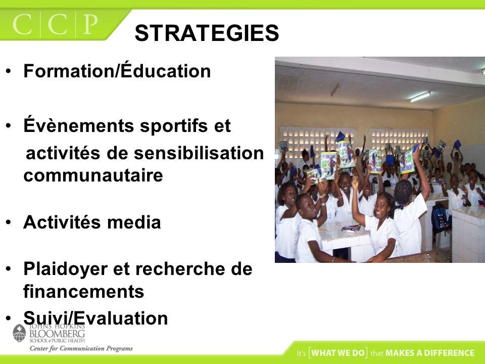 STRATEGIES Formation/Éducation Évènements sportifs et activités de sensibilisation communautaire Activités media Plaidoyer et recherche de financement