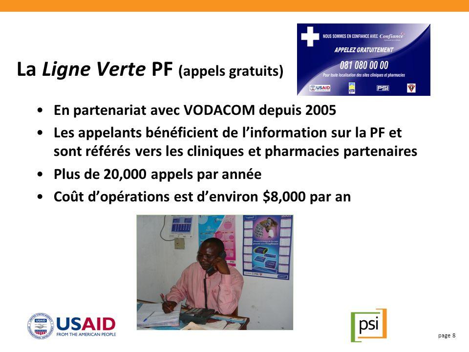 La Ligne Verte PF (appels gratuits) En partenariat avec VODACOM depuis 2005 Les appelants bénéficient de linformation sur la PF et sont référés vers les cliniques et pharmacies partenaires Plus de 20,000 appels par année Coût dopérations est denviron $8,000 par an page 8