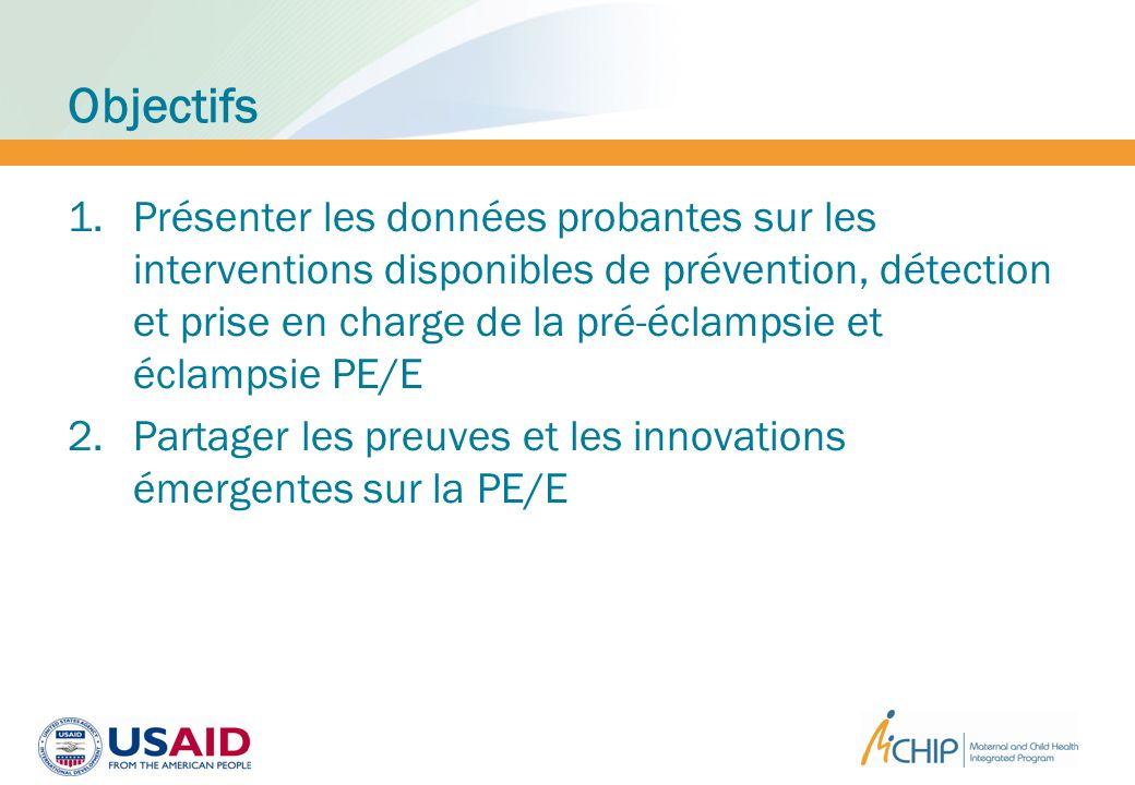 Objectifs 1.Présenter les données probantes sur les interventions disponibles de prévention, détection et prise en charge de la pré-éclampsie et éclam