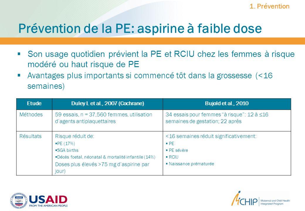 Prévention de la PE: aspirine à faible dose EtudeDuley L et al., 2007 (Cochrane)Bujold et al., 2010 Méthodes59 essais, n = 37,560 femmes, utilisation