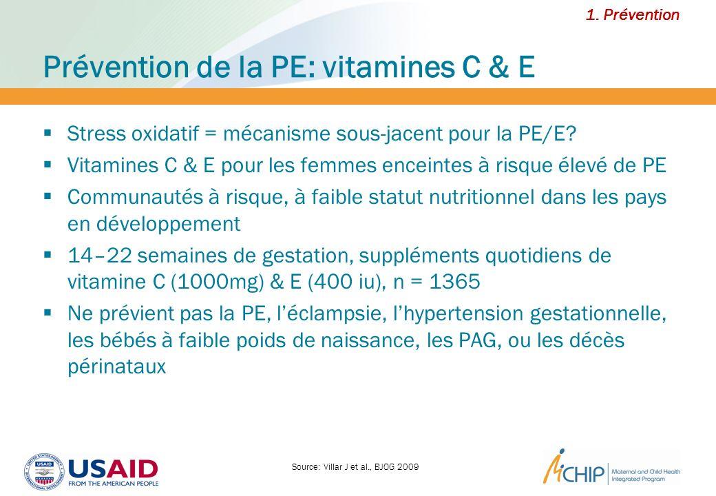 Prévention de la PE: vitamines C & E Stress oxidatif = mécanisme sous-jacent pour la PE/E? Vitamines C & E pour les femmes enceintes à risque élevé de