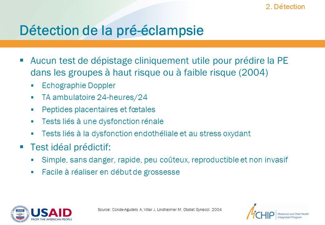 Détection de la pré-éclampsie Aucun test de dépistage cliniquement utile pour prédire la PE dans les groupes à haut risque ou à faible risque (2004) E