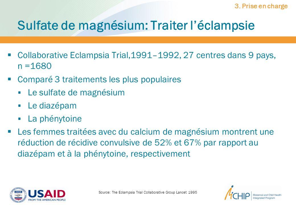 Sulfate de magnésium: Traiter léclampsie Collaborative Eclampsia Trial,1991–1992, 27 centres dans 9 pays, n =1680 Comparé 3 traitements les plus popul