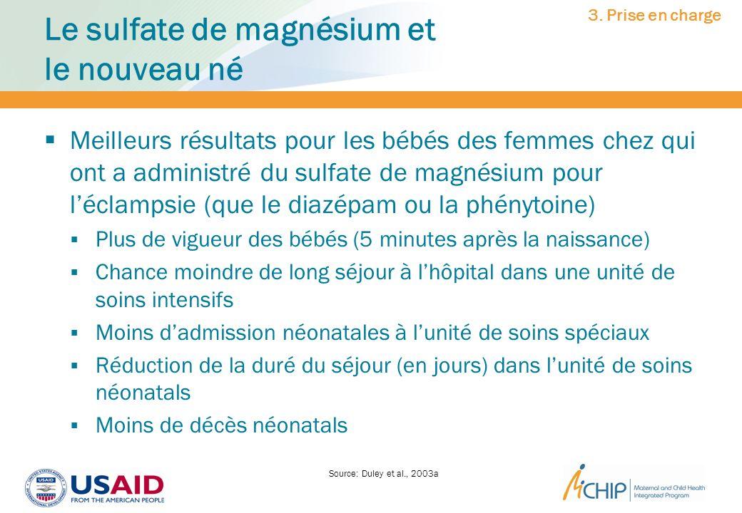 Le sulfate de magnésium et le nouveau né Meilleurs résultats pour les bébés des femmes chez qui ont a administré du sulfate de magnésium pour léclamps