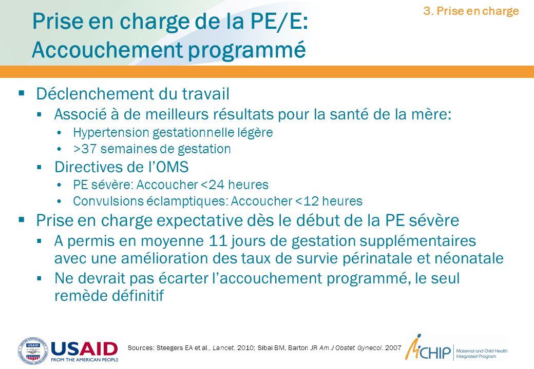 Prise en charge de la PE/E: Accouchement programmé Déclenchement du travail Associé à de meilleurs résultats pour la santé de la mère: Hypertension ge