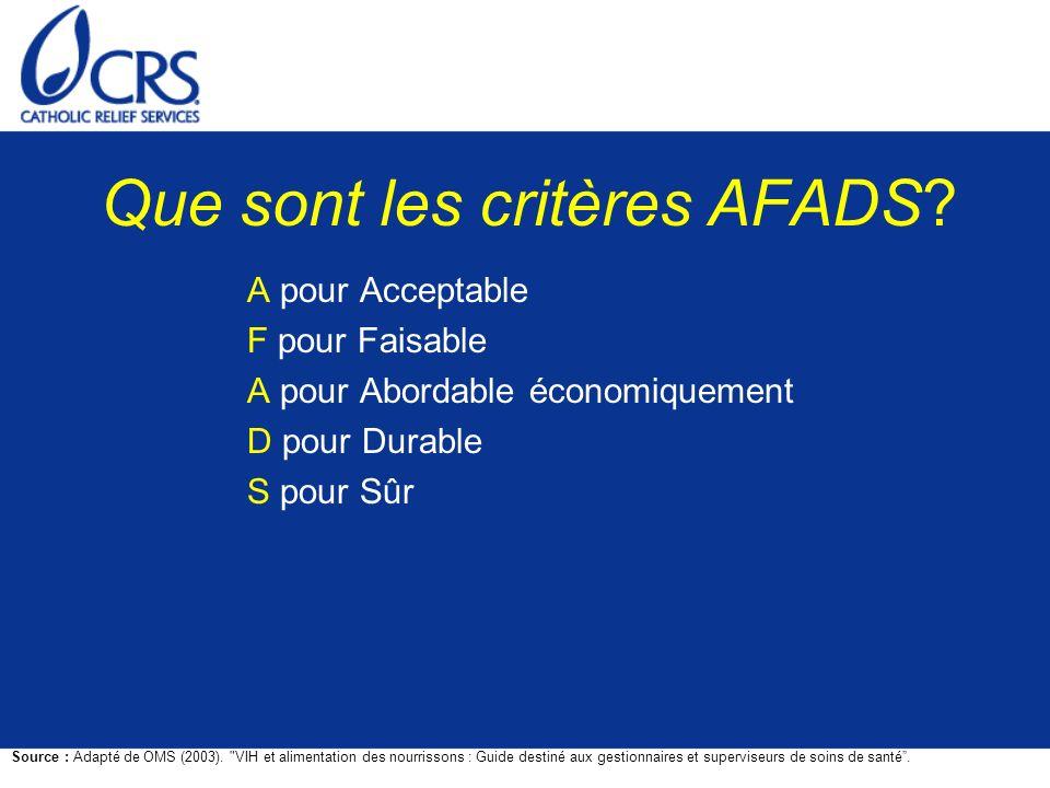 Que sont les critères AFADS? A pour Acceptable F pour Faisable A pour Abordable économiquement D pour Durable S pour Sûr Source : Adapté de OMS (2003)