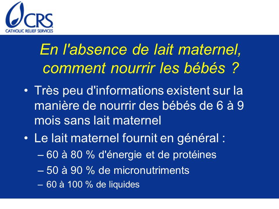 En l'absence de lait maternel, comment nourrir les bébés ? Très peu d'informations existent sur la manière de nourrir des bébés de 6 à 9 mois sans lai