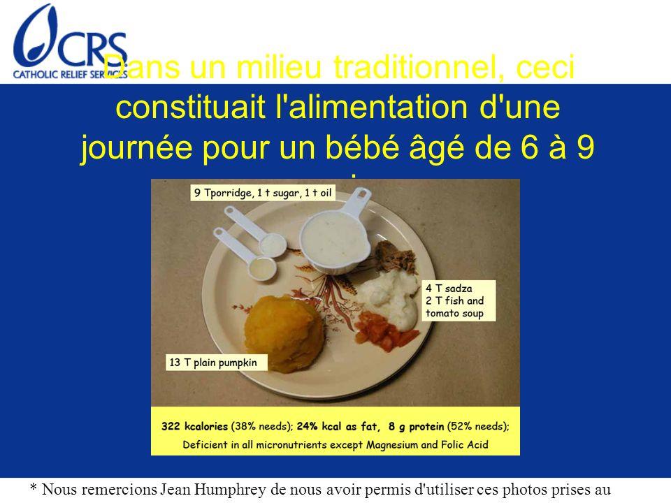 Dans un milieu traditionnel, ceci constituait l'alimentation d'une journée pour un bébé âgé de 6 à 9 mois * Nous remercions Jean Humphrey de nous avoi