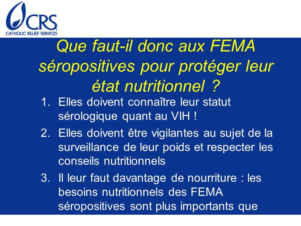 Que faut-il donc aux FEMA séropositives pour protéger leur état nutritionnel ? 1.Elles doivent connaître leur statut sérologique quant au VIH ! 2.Elle
