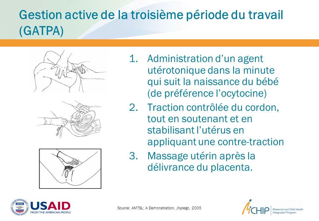 Gestion active de la troisième période du travail (GATPA) 1.Administration dun agent utérotonique dans la minute qui suit la naissance du bébé (de pré