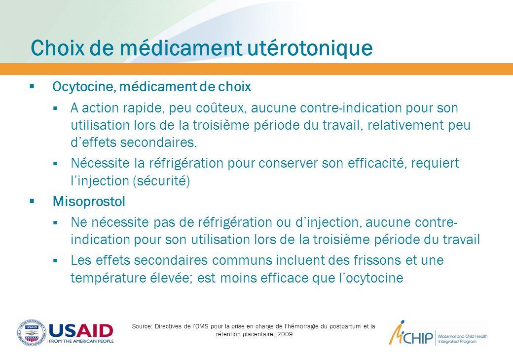 Choix de médicament utérotonique Ocytocine, médicament de choix A action rapide, peu coûteux, aucune contre-indication pour son utilisation lors de la