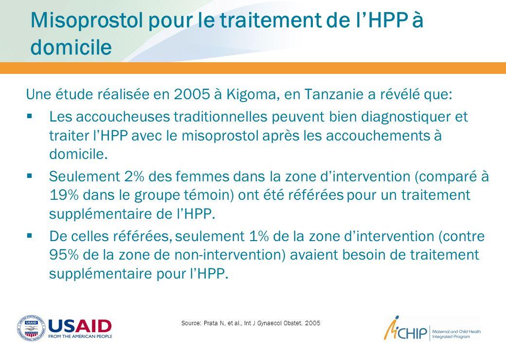Misoprostol pour le traitement de lHPP à domicile Une étude réalisée en 2005 à Kigoma, en Tanzanie a révélé que: Les accoucheuses traditionnelles peuv