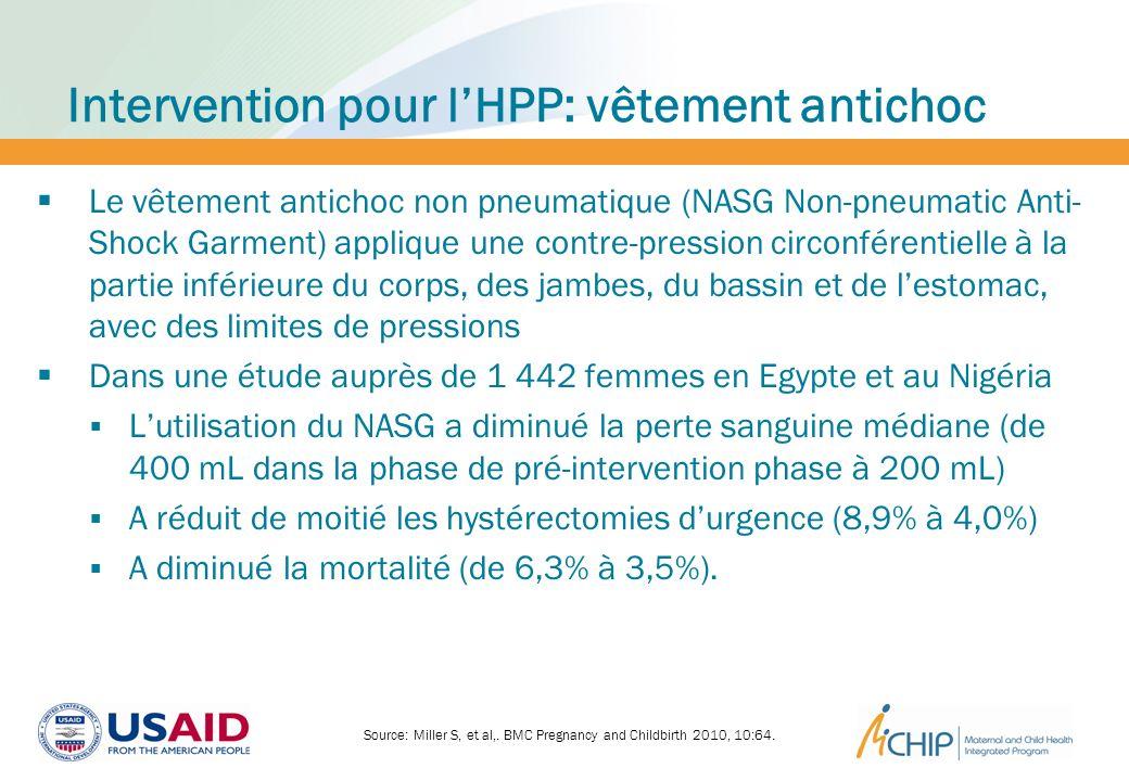Intervention pour lHPP: vêtement antichoc Le vêtement antichoc non pneumatique (NASG Non-pneumatic Anti- Shock Garment) applique une contre-pression c