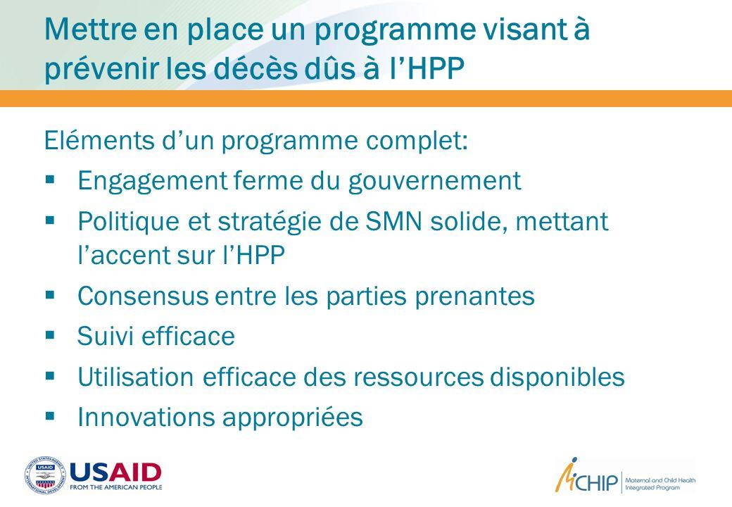 Mettre en place un programme visant à prévenir les décès dûs à lHPP Eléments dun programme complet: Engagement ferme du gouvernement Politique et stra