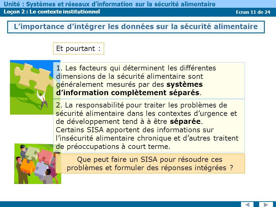 Ecran 11 de 24 Unité : Systèmes et réseaux dinformation sur la sécurité alimentaire Leçon 2 : Le contexte institutionnel Limportance dintégrer les données sur la sécurité alimentaire Et pourtant : 1.