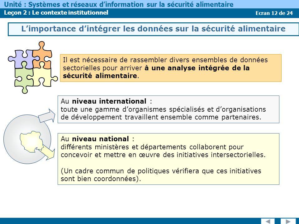 Ecran 12 de 24 Unité : Systèmes et réseaux dinformation sur la sécurité alimentaire Leçon 2 : Le contexte institutionnel Au niveau national : différents ministères et départements collaborent pour concevoir et mettre en œuvre des initiatives intersectorielles.