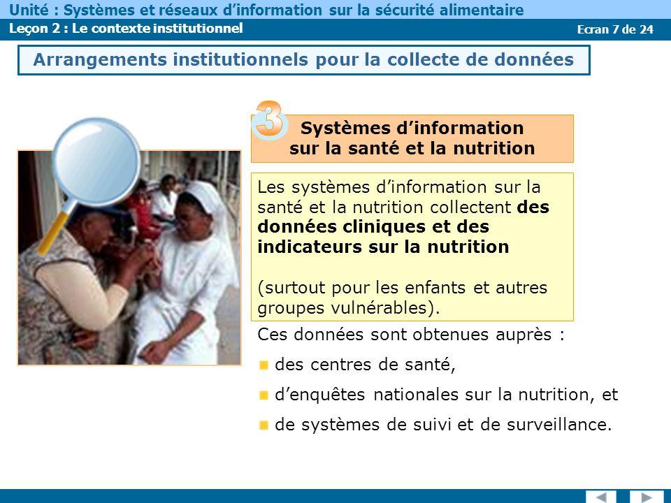 Ecran 7 de 24 Unité : Systèmes et réseaux dinformation sur la sécurité alimentaire Leçon 2 : Le contexte institutionnel Les systèmes dinformation sur la santé et la nutrition collectent des données cliniques et des indicateurs sur la nutrition (surtout pour les enfants et autres groupes vulnérables).