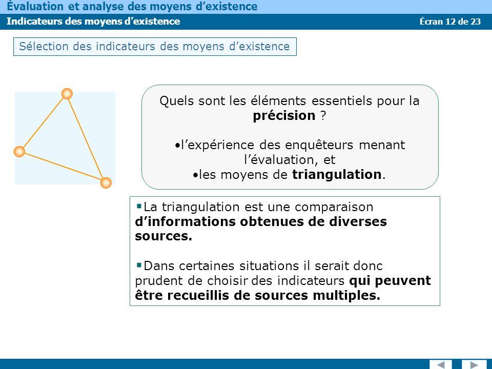 Écran 12 de 23 Évaluation et analyse des moyens dexistence Indicateurs des moyens dexistence La triangulation est une comparaison dinformations obtenu
