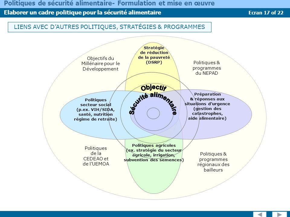 Ecran 17 of 22 Politiques de sécurité alimentaire- Formulation et mise en œuvre Elaborer un cadre politique pour la sécurité alimentaire LIENS AVEC DA