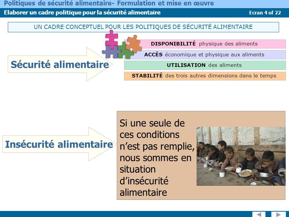 Ecran 4 of 22 Politiques de sécurité alimentaire- Formulation et mise en œuvre Elaborer un cadre politique pour la sécurité alimentaire UN CADRE CONCE