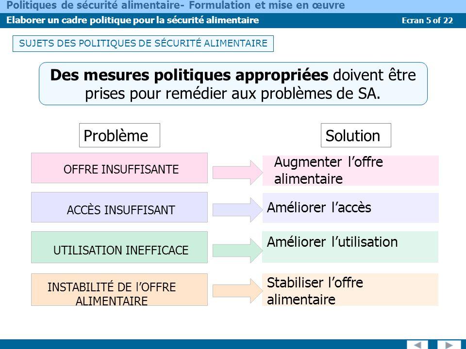 Ecran 5 of 22 Politiques de sécurité alimentaire- Formulation et mise en œuvre Elaborer un cadre politique pour la sécurité alimentaire SUJETS DES POL