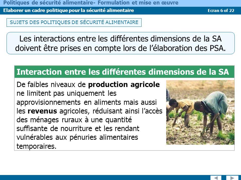 Ecran 6 of 22 Politiques de sécurité alimentaire- Formulation et mise en œuvre Elaborer un cadre politique pour la sécurité alimentaire Les interactio