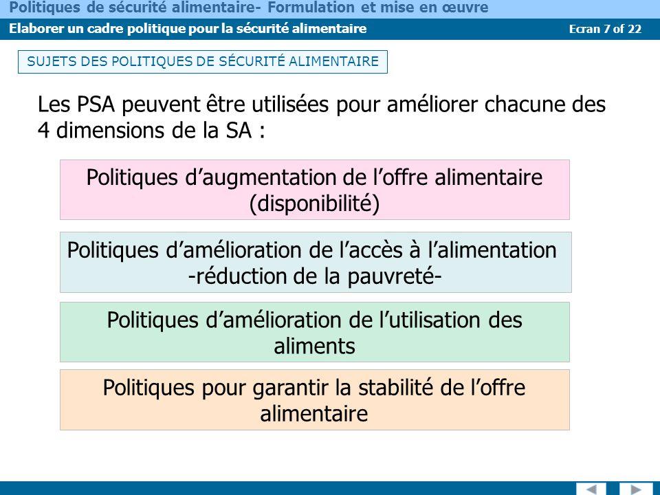 Ecran 7 of 22 Politiques de sécurité alimentaire- Formulation et mise en œuvre Elaborer un cadre politique pour la sécurité alimentaire USES OF VULNER
