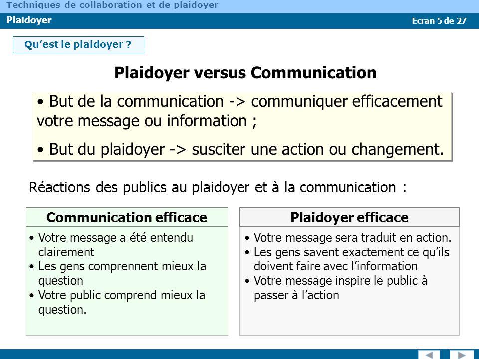 Ecran 5 de 27 Techniques de collaboration et de plaidoyer Plaidoyer Quest le plaidoyer ? Réactions des publics au plaidoyer et à la communication : Co