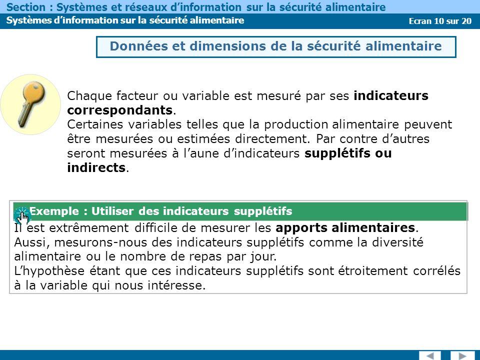 Ecran 10 sur 20 Section : Systèmes et réseaux dinformation sur la sécurité alimentaire Systèmes dinformation sur la sécurité alimentaire Chaque facteur ou variable est mesuré par ses indicateurs correspondants.