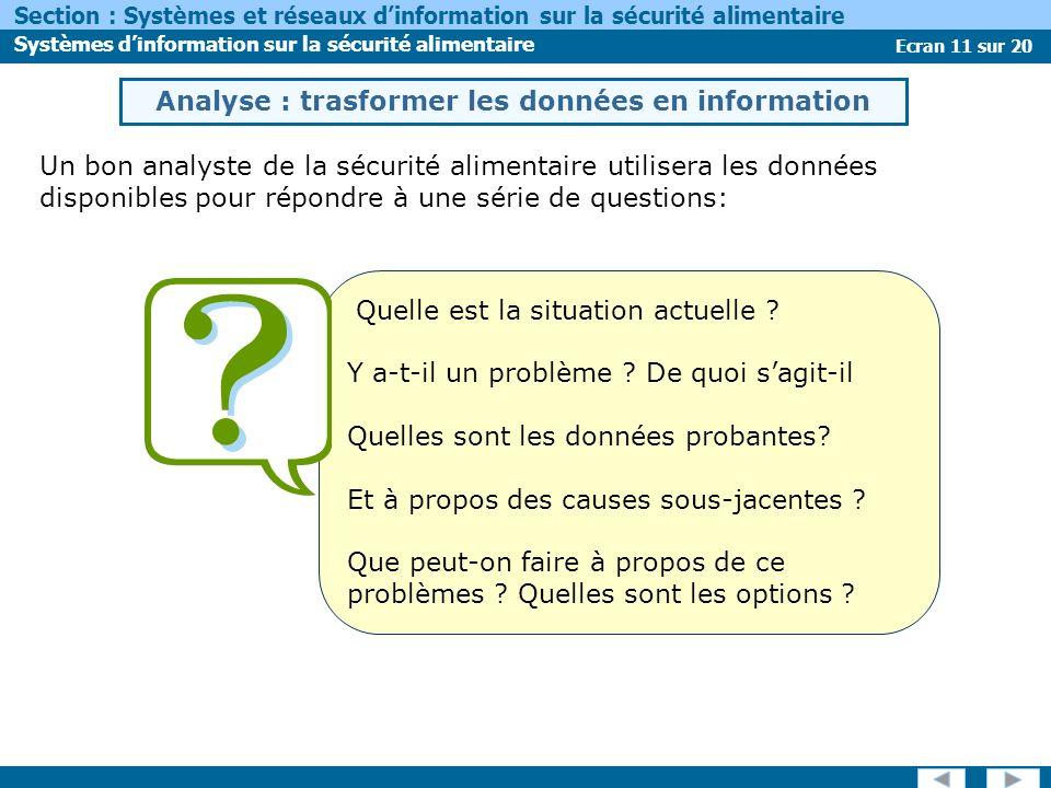 Ecran 11 sur 20 Section : Systèmes et réseaux dinformation sur la sécurité alimentaire Systèmes dinformation sur la sécurité alimentaire Un bon analys