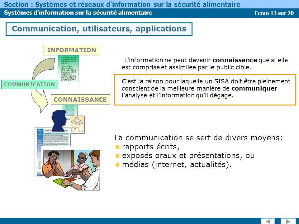 Ecran 13 sur 20 Section : Systèmes et réseaux dinformation sur la sécurité alimentaire Systèmes dinformation sur la sécurité alimentaire Linformation ne peut devenir connaissance que si elle est comprise et assimilée par le public cible.