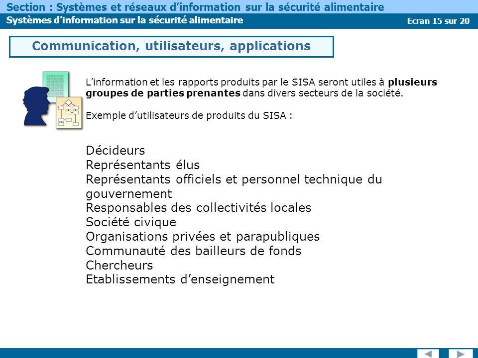 Ecran 15 sur 20 Section : Systèmes et réseaux dinformation sur la sécurité alimentaire Systèmes dinformation sur la sécurité alimentaire Communication