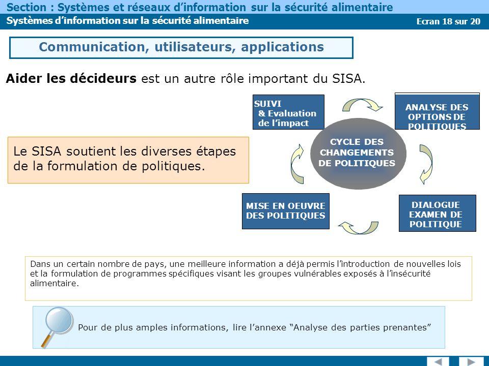 Ecran 18 sur 20 Section : Systèmes et réseaux dinformation sur la sécurité alimentaire Systèmes dinformation sur la sécurité alimentaire Le SISA soutient les diverses étapes de la formulation de politiques.