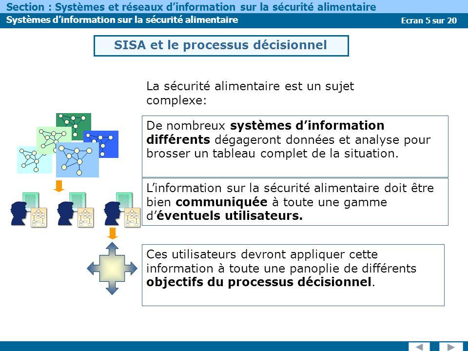Ecran 5 sur 20 Section : Systèmes et réseaux dinformation sur la sécurité alimentaire Systèmes dinformation sur la sécurité alimentaire Ces utilisateurs devront appliquer cette information à toute une panoplie de différents objectifs du processus décisionnel.