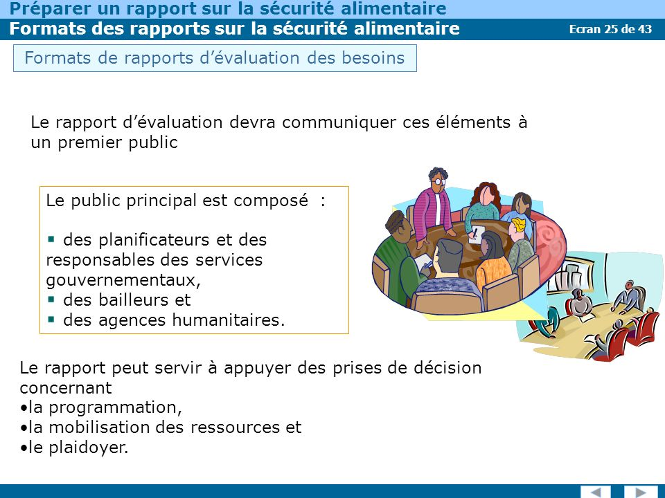 Ecran 25 de 43 Préparer un rapport sur la sécurité alimentaire Formats des rapports sur la sécurité alimentaire Le public principal est composé : des planificateurs et des responsables des services gouvernementaux, des bailleurs et des agences humanitaires.