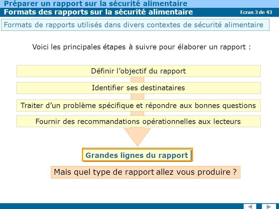 Ecran 3 de 43 Préparer un rapport sur la sécurité alimentaire Formats des rapports sur la sécurité alimentaire Mais quel type de rapport allez vous produire .