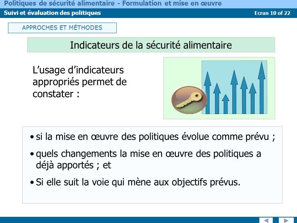 Ecran 10 of 22 Politiques de sécurité alimentaire - Formulation et mise en œuvre Suivi et évaluation des politiques Indicateurs de la sécurité aliment