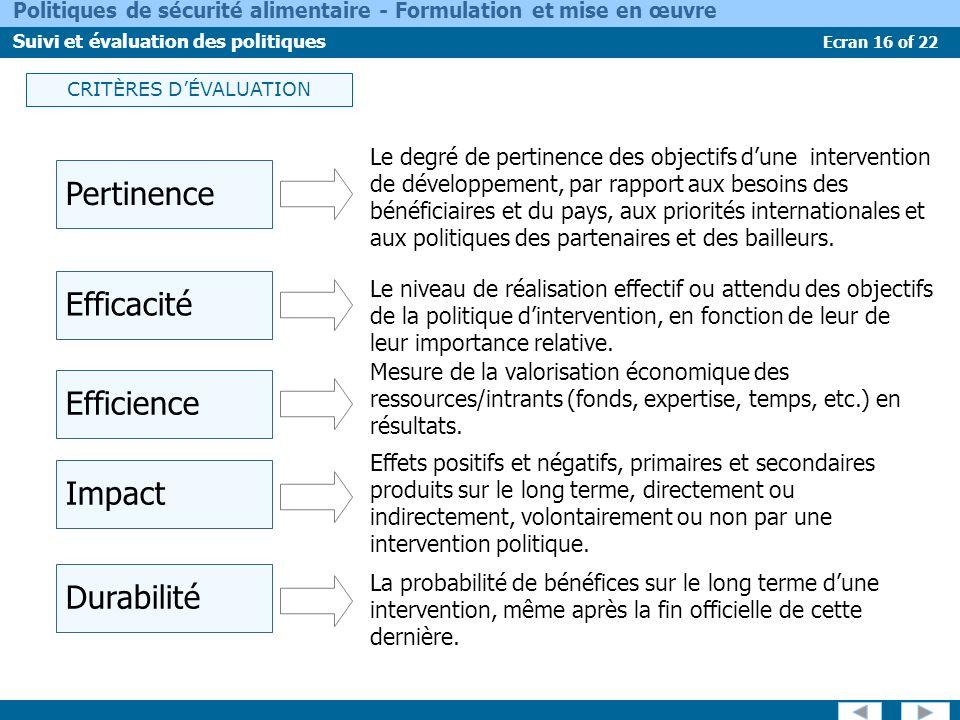 Ecran 16 of 22 Politiques de sécurité alimentaire - Formulation et mise en œuvre Suivi et évaluation des politiques CRITÈRES DÉVALUATION Pertinence Ef