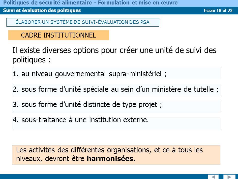 Ecran 18 of 22 Politiques de sécurité alimentaire - Formulation et mise en œuvre Suivi et évaluation des politiques Il existe diverses options pour cr